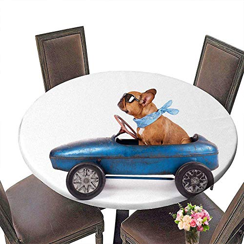 """PINAFORE Luxury Round Table Cloth for Home use French Bulldog Enjoys a Ride in Pedal car Isolated on White for Buffet Table, Holiday Dinner 55""""-59"""" Round (Elastic Edge)"""