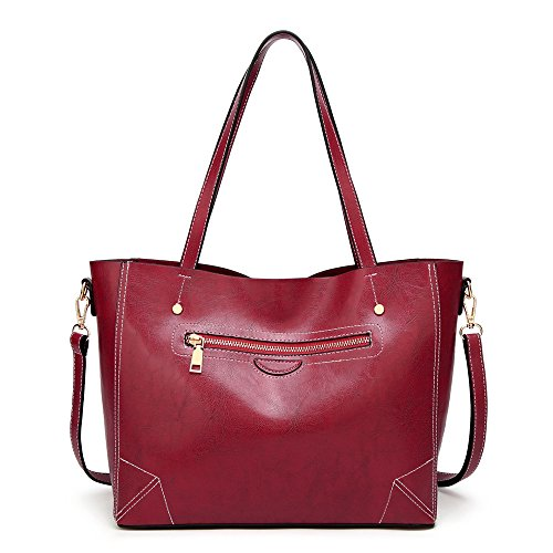 donna Pu Borsa Shopper Burgundy Tote da Handle in Crossbody Top Totes Borse Soft Satchel pelle Travel Shoulder Hobo Manico 5tq8wInT