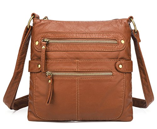 Scarleton Small Crossbody Shoulder Bag for Women, Ultra Soft Washed Vegan Leather, Brown, H182004