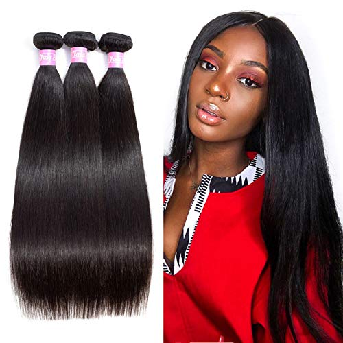 Jaja hair 8A Peruvian Virgin Hair Straight 3 Bundles Deal 100% Unprocessed Silky Straight Human Hair Bundles Remy Hair Weaves Extensions Weft Natural Color Can be Dyed 8 10 12 Inches (Best Weave For Natural Hair)