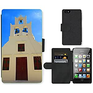 Hot Style Cell Phone Card Slot PU Leather Wallet Case // M00169735 Santorini Greece White Houses // Apple iPhone 4 4S 4G