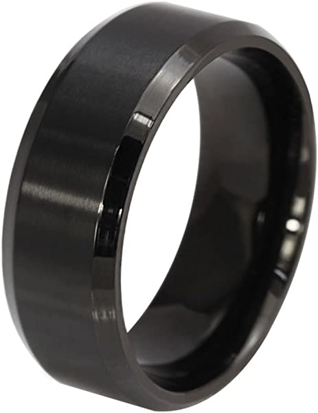(Free Engraving Personalized Custom 8MM Stainless Steel Plain Band Ring for Men,Black/Gold Plated/Silver