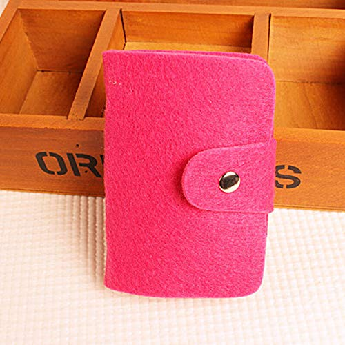 (Men Women ID Credit Card Holder Money Pocket Case Mini Purse Slim Thin Wallet A (Color - #2 Rose Red Felted Card Pac.))
