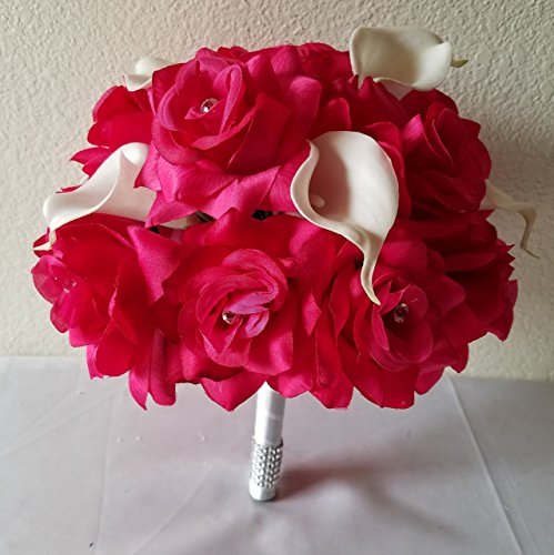 Fuchsia Rhinestone Rose Calla Lily Bridal Wedding Bouquet & Boutonniere
