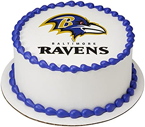 Wondrous Amazon Com Nfl Balitmore Ravens Licensed Edible 8 Round Cake Birthday Cards Printable Opercafe Filternl