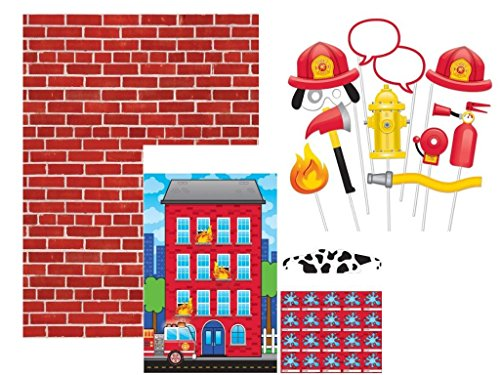 (Puppy Dog Fire Truck Photo Backdrop, Photo Props and Pin Game for Birthdays, Parties and Gatherings)