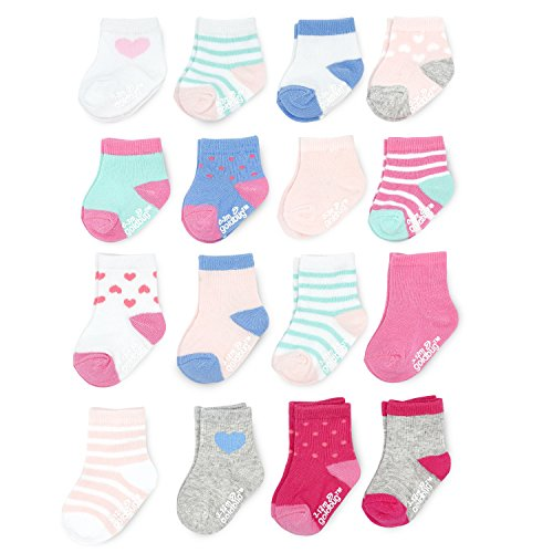 (Goldbug Baby Girls 16-Pack Multi Size Socks, crew, hearts/stripes, 12-24 Months & 2-4T )