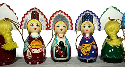 [Folk Doll in Traditional Folk Costume - Hand-painted Hanging Car Ornaments for Christmas trees - Wooden Ethnic Gift - Folk Art - 4] (Lagoona Costumes)