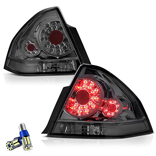 VIPMOTOZ Chrome Smoke LED Tail Light Lamp Assembly For 2006-2013 Chevy Impala & Limited Model - Full SMD LED Reverse Bulbs Included, Driver & Passenger Side