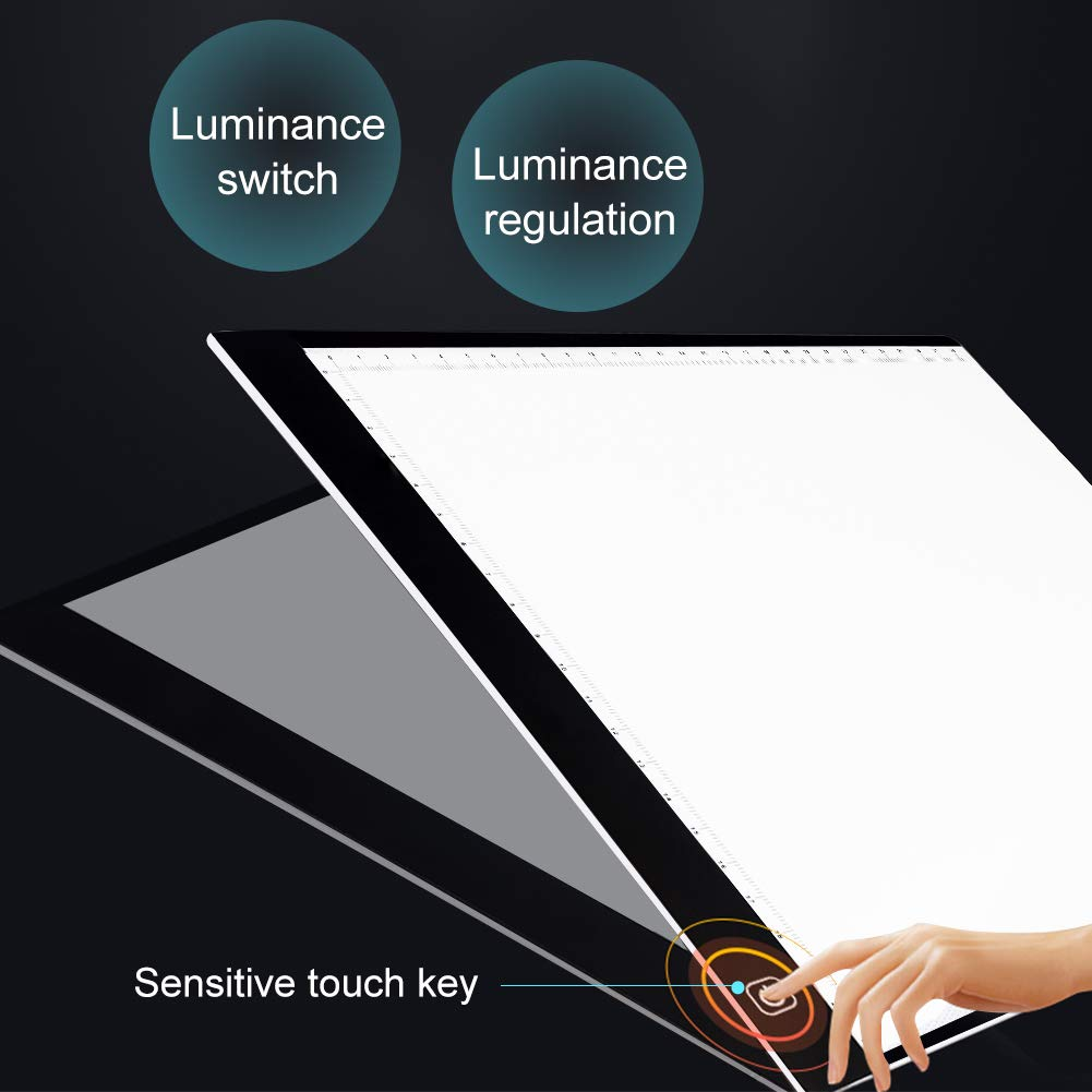 Led Light Box SIKIWIND A4 Ultra-Thin Portable Tracing Light Box Stepless Adjustable Brightness with USB Power Cable for 5D DIY Diamond Painting Artists Drawing and Animation etc Black Sketching