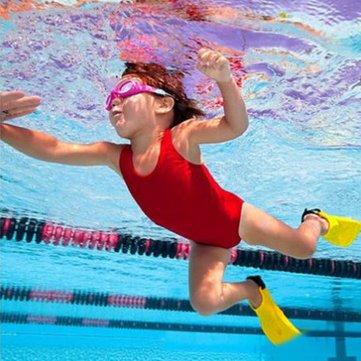 1 Pair Toddler Learn Swimming Kid Children Soft Adjustable Flippers Swim Fin For Children Learner Random Color