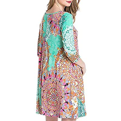 Women's 3/4 Sleeve Damask Floral Printed Tunic Dress Bohemian Swing Casual Midi Dress with Pocket Tunic Blouses for Leggings: Clothing