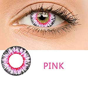 Adoeve Women Multicolor Cute Charm and Attractive Materials Contact Lenses (Pink 1 PC)
