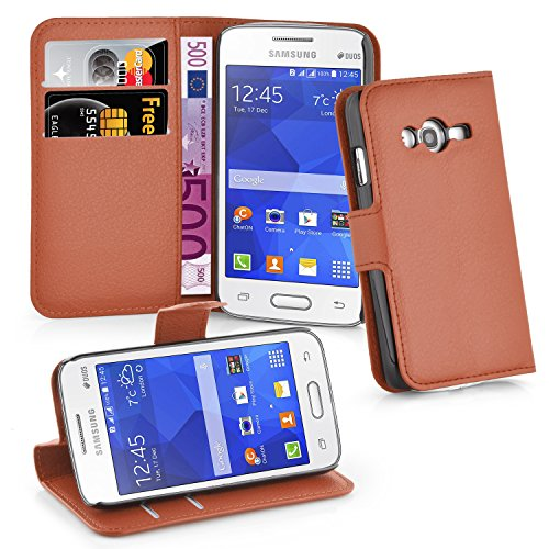 Cadorabo Book Case Works with Samsung Galaxy ACE 4 LITE in Saddle Brown – with Magnetic Closure, Stand Function and Card Slot – Wallet Etui Cover Pouch PU Leather - Samsung Ace Galaxy Cover Flip