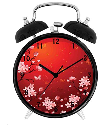 (22yiihannz Red Ethereal Abstract Sunset Scenery with Blossoming Sakura Sprigs and Butterflies,Battery Operated Quartz Ring Alarm Clock for Home,Office,Bedroom,Coral Red_4inch)