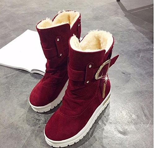 kuki-women, STIEFELETTEN, Damen Schuhe, Schnee Stiefel, Low Tube, Strass, dicker werden, warm, flach, Winter rot