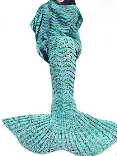 Coroler Adorable Mermaid Tail Blanket Snuggle Sleeping Bags with Wave Pattern for Adults,Green