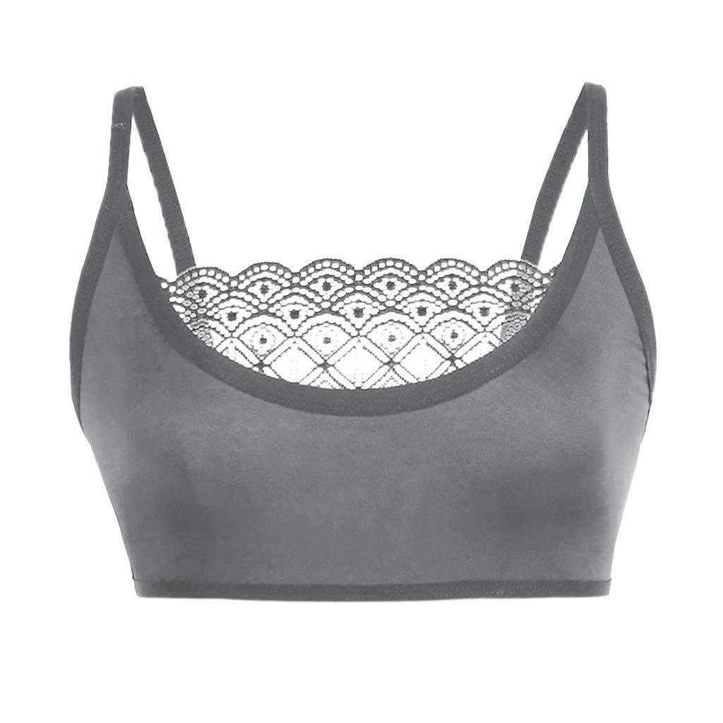 Yiduore Women\'s Sexy Lace Bralette Sports Bra Crop Tops Plus Size Bras Spaghetti Strap Cami Vest