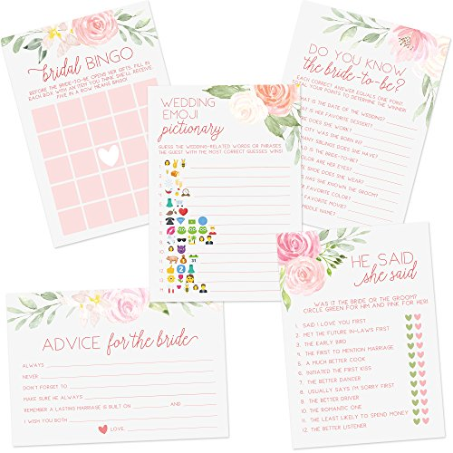 Floral Bridal Shower Games | Set of 5 Games | 50 Sheets Each | Bridal Shower Games and Wedding Anniversary Activities | Includes Marriage Advice Cards and Emoji Game - -