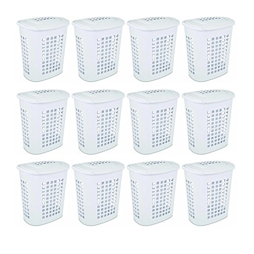 Sterilite 2.3 Bushell 81 Liter Lift Top XL White Laundry Basket Hamper (12 Pack) by Sterilite
