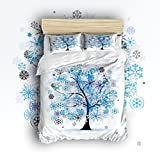 Libaoge 4 Piece Bed Sheets Set, Colorful Tree Four Season, 1 Flat Sheet 1 Duvet Cover and 2 Pillow Cases