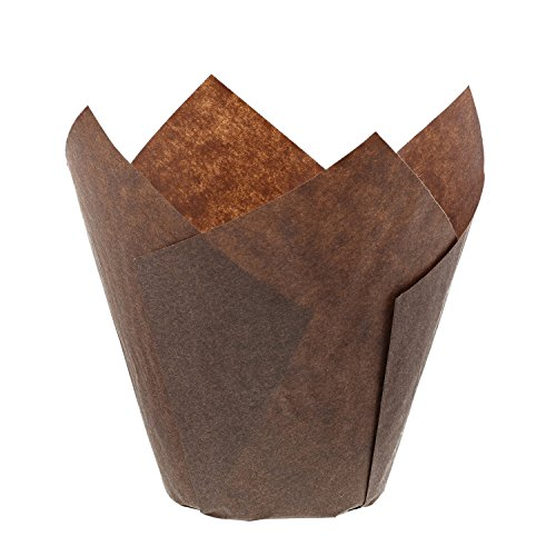 Royal Brown Tulip Style Baking Cups, Medium, Sleeve of 200