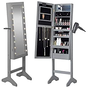 Beautify mirrored jewelry armoire with led for Floor standing mirrored bathroom cabinet