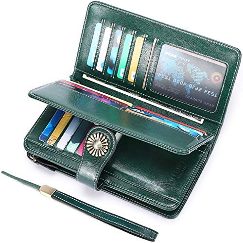 UMODE Vintage Style Genuine Leather Large Capacity RFID Wallet Organizer for Women (Dark green)