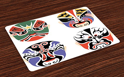 Asian Tribal Masks (Kabuki Mask Place Mats Set of 4 by Ambesonne, Traditional Chinese Cultural Opera Mask Set Collection Asian Tribal Art Theme, Washable Placemats for Dining Room Kitchen Table Decoration, Multicolor)
