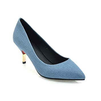 Escarpins Femme Jeans VIVIOO Talons Chaussures 6 Cm Pompes Hauts vPqCwxf