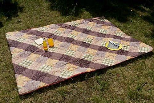 1001 Wohntraum Picknickdecke 1W15 XXL 142x200cm superweich gepolstert Rosa//Blumen Campingdecke Decke wasserabweisend Stranddecke