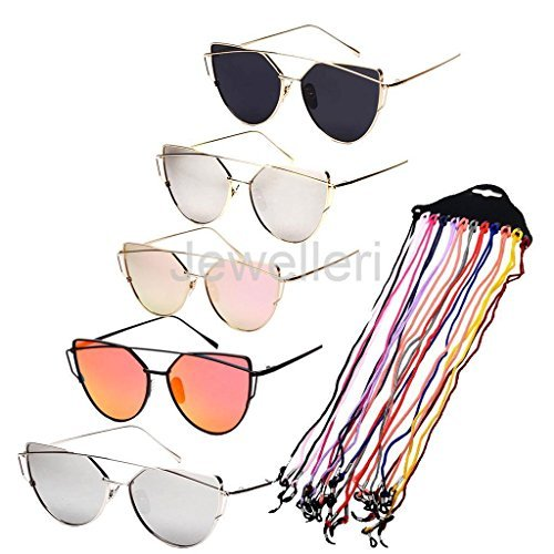 VIPASNAM-12 Pieces Nylon Cord Holder with 5 Pieces Cat Eye Glasses Lady - With Butterfly Tiffany Frames Eyeglass