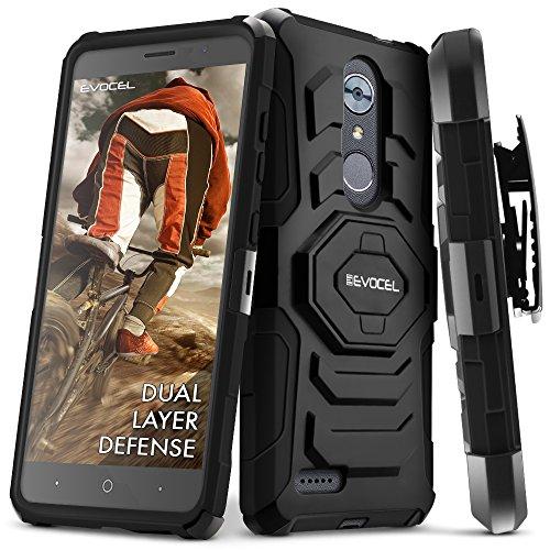 ZTE MAX XL/ZTE Blade Max 3 / ZTE Max Blue Case, Evocel [New Generation Series] Belt Clip Holster, Kickstand, Dual Layer for ZTE N9560 / ZTE Z986 / ZTE N986, Black (Family Mobile Zte Max Phone Cases)