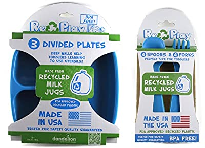 Re-Play Divided Plates and Utensils Set - Blue, Aqua, Green