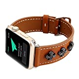 KOBWA For Apple Watch Band, Leather Replacement Band/Strap/Bracelet/ Accessories with Stainless Steel Clasp For IWatch Series 3 Series 2 Series 1 (42MM Brown)