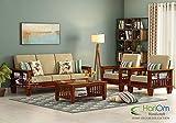 Hariom Handicraft Solid Sheesham Wood Sofa Set   Wooden Sofa Set   Living Room Furniture (3+1+1, Brown)