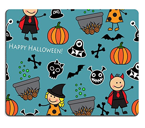 Luxlady Mouse Pad Candid Rubber Mousepad IMAGE ID: 32098520 Halloween seamless pattern with boiler monster pumpkins and other symbols of the holiday