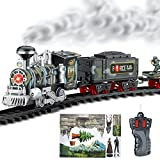 Haktoys Radio Control Military Simulation R/C Train Set with Real Smoke, LED Lights, Sound and Bonus Figurine Pack