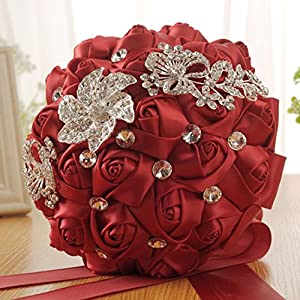 Wedding Bouquet,YJYDADA Crystal Roses Bridesmaid Wedding Bouquet Bridal Artificial Silk Flowers (Red) 5