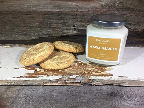 Snickerdoodle Fresh Baked Cookie scented candle, 8 oz. hand-poured soy wax glass jar candle by Drew's Candle - We support Mental Illness
