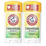 Arm & Hammer Essentials Natural Deodorant, Fresh - 2.5 oz - 2 pk