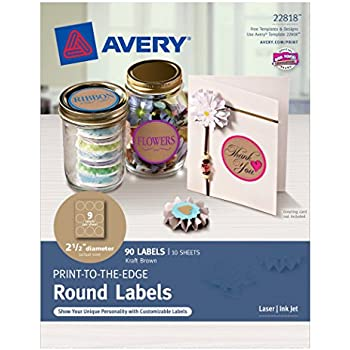 Avery print to the edge round labels kraft brown 2 1 2 diameter pack of 90 22818