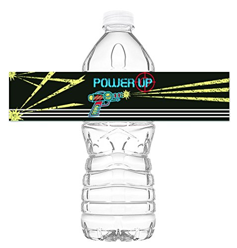 Laser Tag Bottle Wraps - Set of 20 - Laser Tag Water Bottle Labels - Paintball Decorations - Made in the USA (Water Tag)
