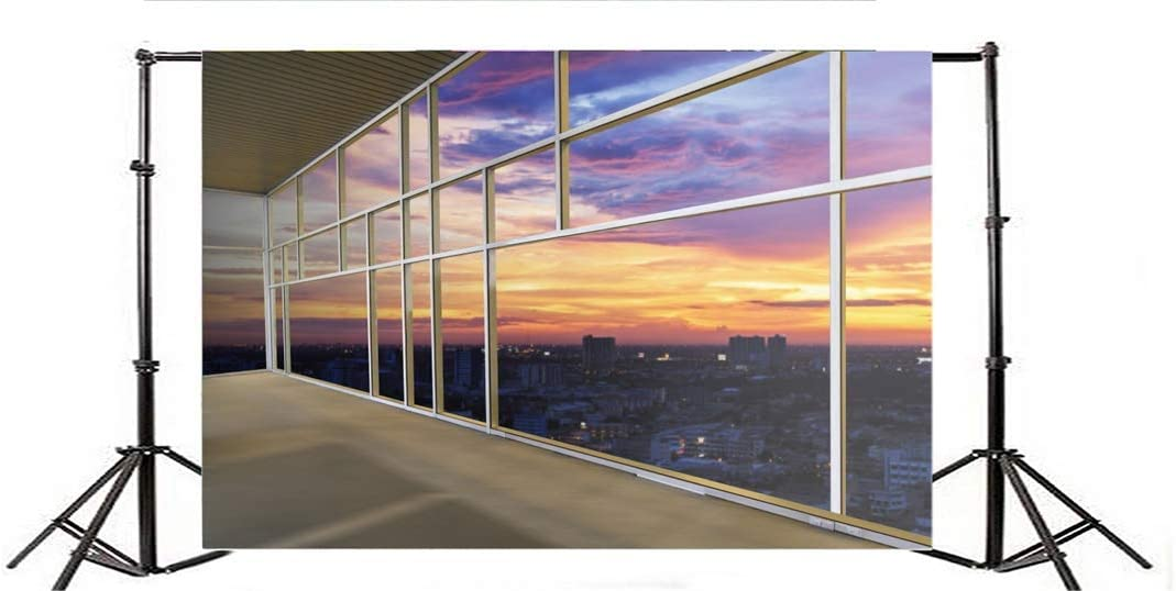 Yeele 10x8ft Background for Photography High-Rise Building Floor to Ceiling Window Interior Decoration Sunshine Sunset Photo Backdrop Cityscape City Night Scene Studio Props Wallpaper