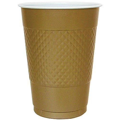 Hanna K. Signature Collection 100 Count Plastic Cup, 16-Ounce, Gold, Diamond OR circle pattern ()