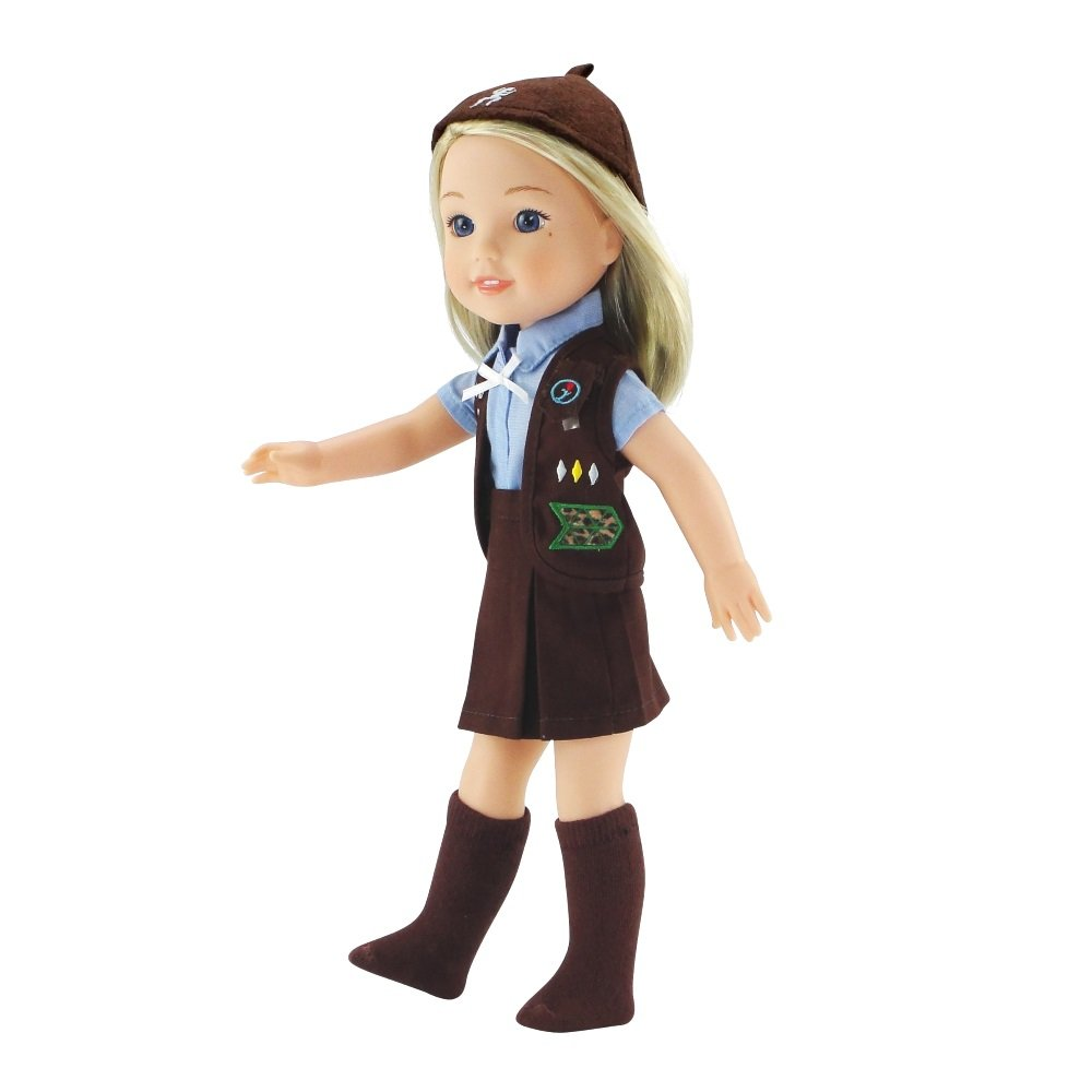 eaa618749 Amazon.com: 14 Inch Wellie Wishers Doll Clothes/Clothing | 5 Piece Girl  Scouts Brownie Outfit/Uniform | Fits American Girl 14