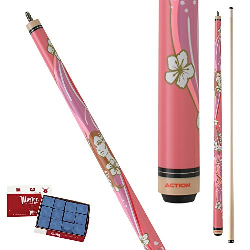 Action Impact IMP31 flowers, butterflies and pretty lady Pool Cue Stick with 12 pieces of Master Billiard Chalk (21)