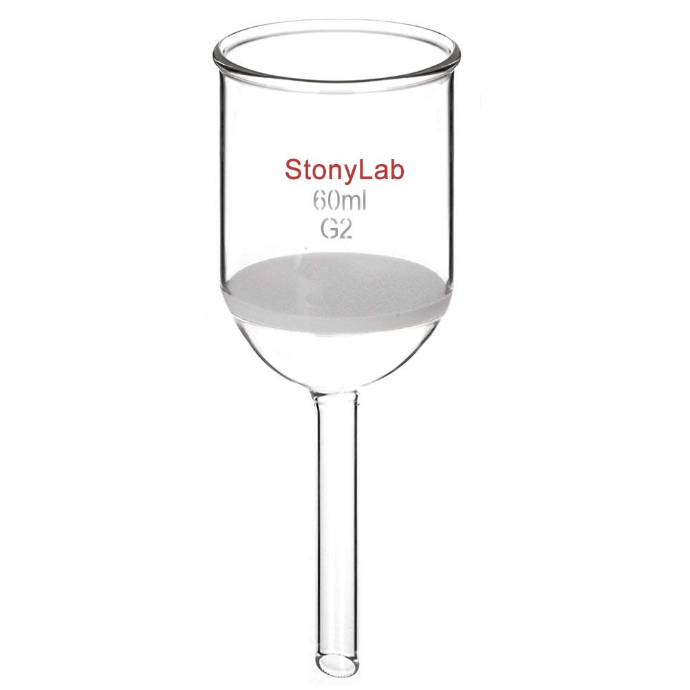 StonyLab Borosilicate Glass Buchner Filtering Funnel with Medium Frit, 46mm Inner-Diameter, 60mm Depth (60 mL) by stonylab