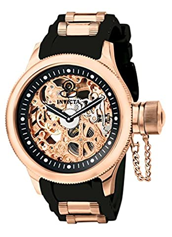 Invicta Men's 1090 Russian Diver Rose Gold-tone Stainless Steel Skeleton Watch