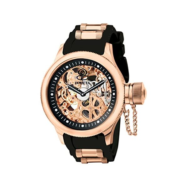 Invicta Men's Russian Diver Rose Gold Stainless Steel and Black  Polyurethane Mechanical Watch, Rose Gold/Black (Model… | ShoesCrave